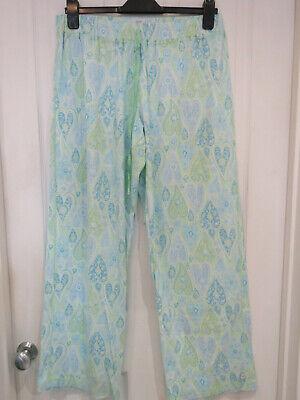 New Ladies Karen Neuburger blue & green paisley loungewear pants size L