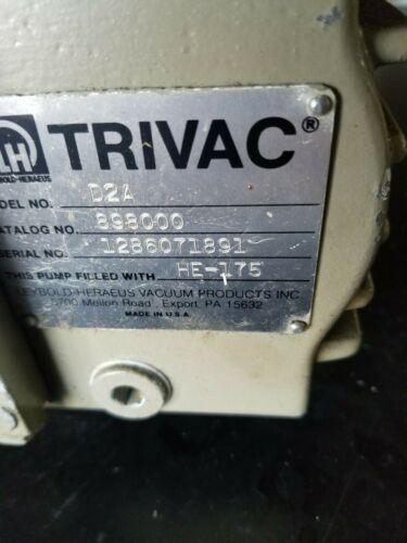 Leybold Trivac Vacuum Pump Model D2A 1/3 hp GE motor  120V / 230V