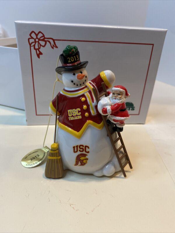 THE DANBURY MINT USC TROJANS GAMEDAY SNOWMAN 2013 ORNAMENT