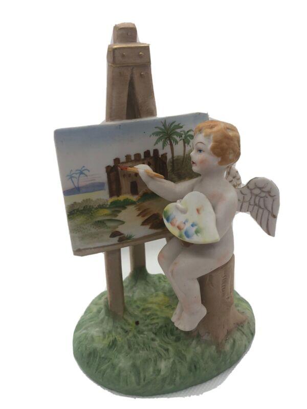 Vtg LENWILE ARDALT Hand Painted Occupied Japan Cherub Painting Figurine 6297