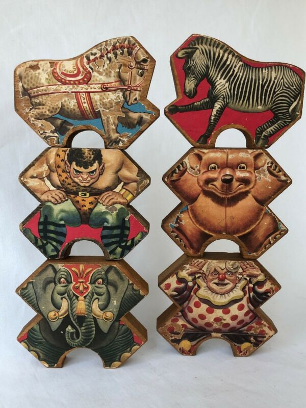 6 Antique Shaped Circus Blocks Wooden Lithograph Toy Animals Strong Man Wood