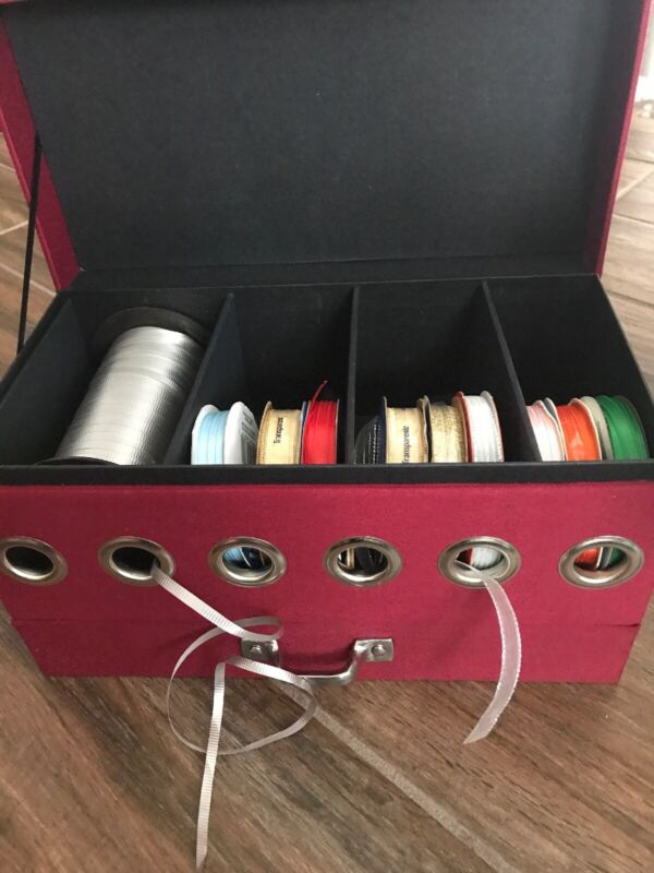 Red Ribbon Chest LARGE Storage Box With Full  Drawer & Ribbons