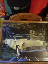 Vintage 1955 Thunderbird framed picture wall clock large NEW