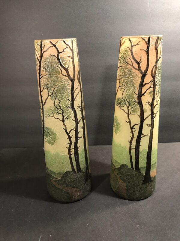 Pair Of Antique Signed Legras French Art Glass Vase/ Cameo & Enamel / Circa 1925