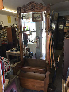 Antique Victorian hall seat with umbrella stand$600
