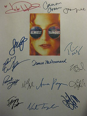Almost Famous Signed Script X15 Kate Hudson Billy Crudup Zooey Deschanel reprint