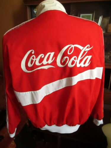 MEDIUM TRUE VTG 80s RED/WHITE BOMBER EMBROIDERED Coca Cola Delivery Jacket USA