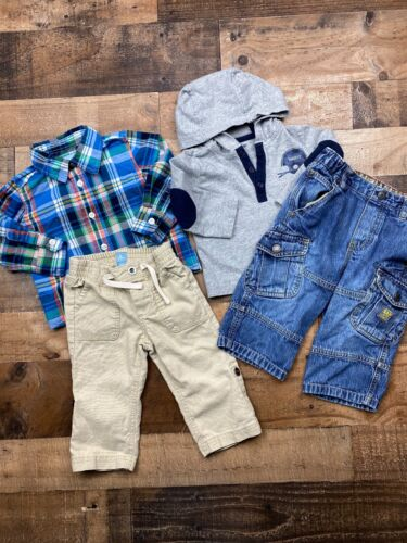 Baby Gap Boys Mixed Lot Of 4 Pants Tops Jeans Shirts Outfits Size 12-18 Months