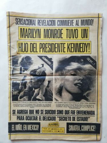 Vintage Mexican ALARMA Newspaper MARYLIN MONROE Article from 70