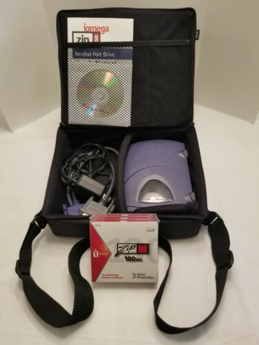 Iomega Zip 250 Parallel Port Drive External w/Carrying Case & Cords Cables Shown