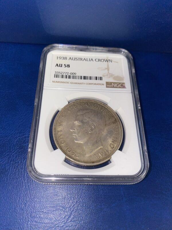 1938 Australia Crown ~ NGC Graded ~ AU 58 ~ One Crown