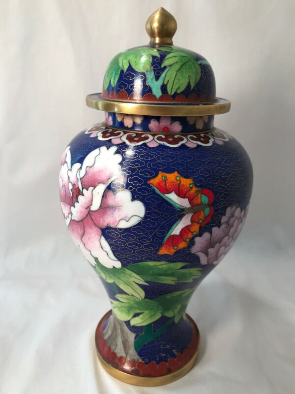 Asian Art Chinese Cloisonne Enameled Metal Vase Urn Oriental Jar Covered Vintage