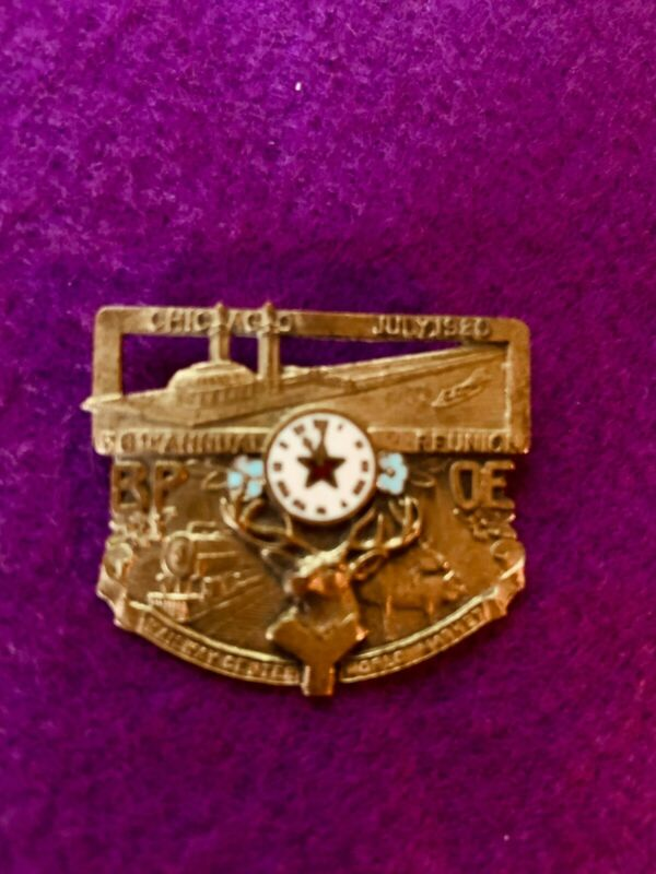 BPOE Elks memorabilia-July 1920 Chicago Annual Reunion medal-very good original