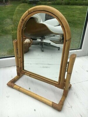 Vintage 70s Bamboo Boho Tiki Cane Tabletop Vanity Dressing Table Tilting Mirror