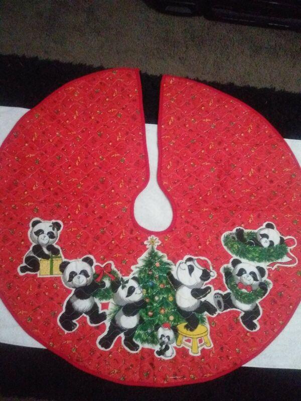 "Vtg Christmas Tree skirt PANDA Bear on red 33"" prequilted Tree"
