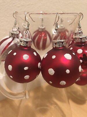 1e50ce818f4526 Poka Dot Snowflake Speck Matte Red Christmas Ornament Dangle Earrings