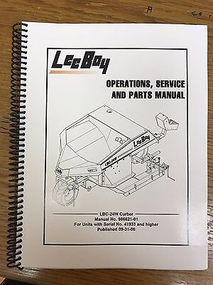 Oem Leeboy Lbc-24w Curber Operation Service Parts Manual Book