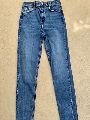 Zara Lovely High Waste Blue Skinny Jeans Size 38 10