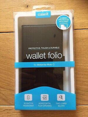 Motorola Moto C Wallet Folio Including Screen Protector. Black