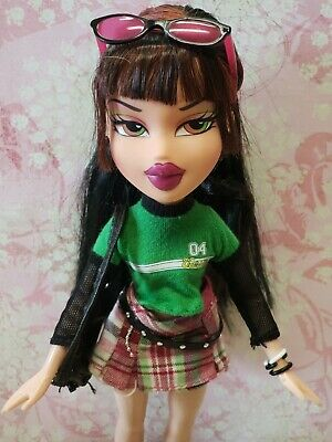 BRATZ FUNK OUT JADE DOLL in original skirt, top, shoes, purse,glasses, bracelets