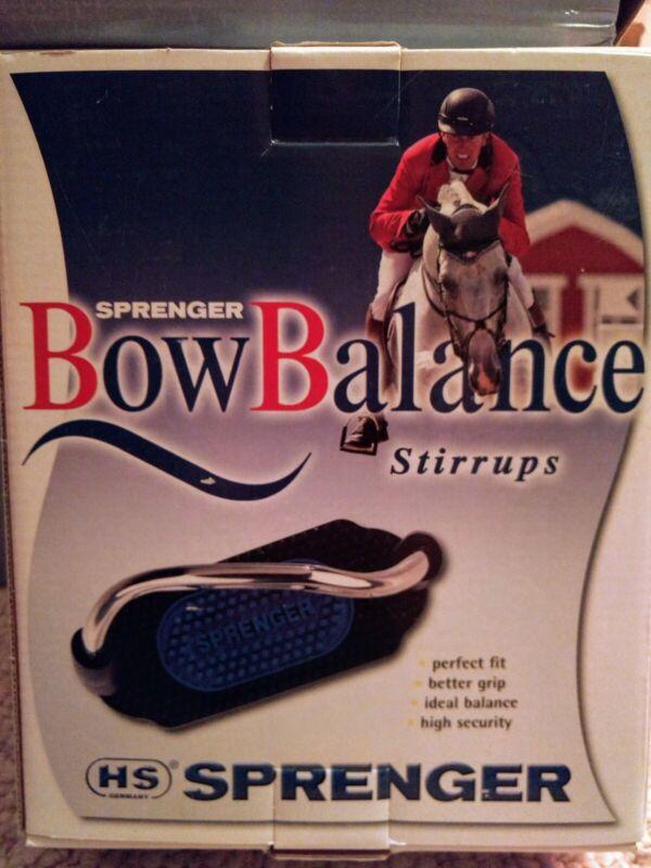 Sprenger Bow Balance Safety Stirrups w/Besserer in Black/Blue Brand New