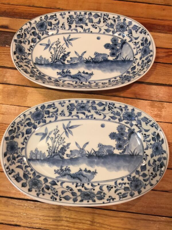 Blue & White Chinoiserie Oval Baking Serving Dish Set Set Of 2 - Floral Rabbits