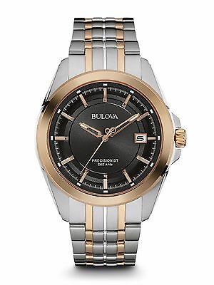 Bulova Men's 98B268 Precisionist Quartz Black Dial Two Tone Bracelet Watch