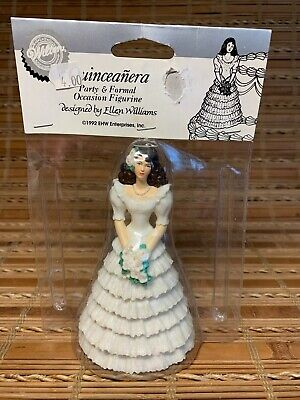 Vintage 1992 Wilton Quinceanera Cake Topper Party & Formal Figurine Ruffle Dress