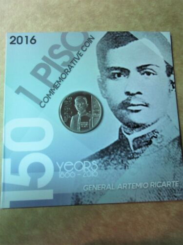 2016 General Artemio Ricarte 1 piso coin carded with envelop unc Philippines