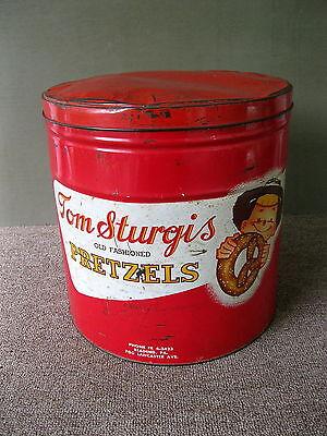 Antique Tin TOM STURGIS Pretzel Large Vintage Advertising, PA, Red White Gold