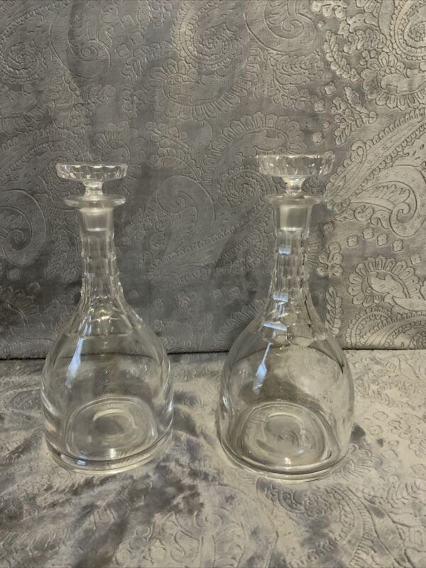 Vintage Cut Crystal Wine Decanters and Stoppers (2)
