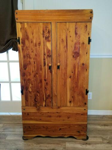 Vintage Solid Cedar Wardrobe, Closet, Cabinet, Armoire, Shabby Chic