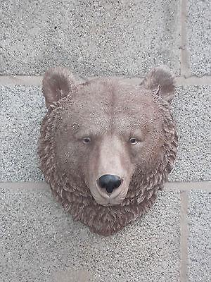 Bears head wall plaque concrete garden ornament