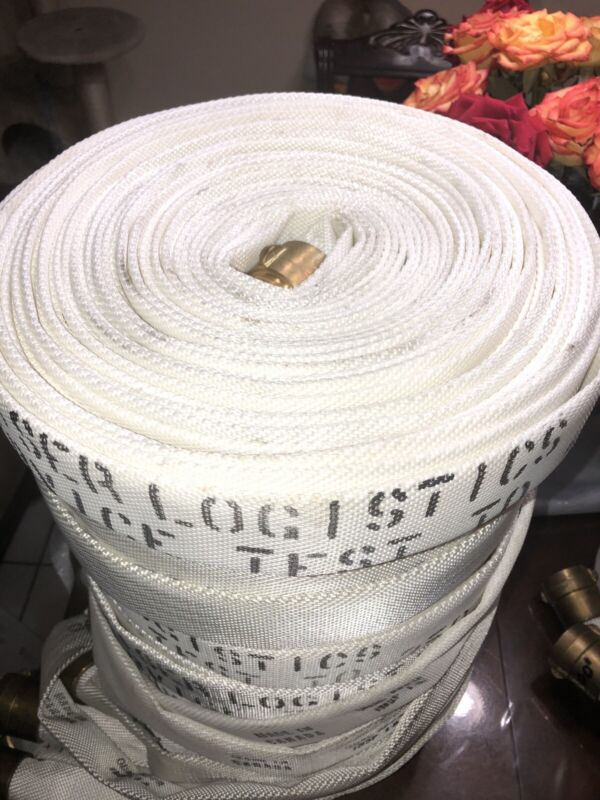 Fire Hose Heiser Logistics 100 Ft 1 1/2 In Brass Coupling 250 PSI Good Condition