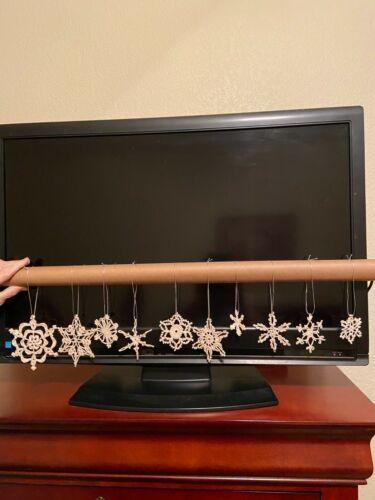 Crocheted Handmade Snowflake Ornaments- Ecru -Set of 10-  Asst #30 - FREE SHIP