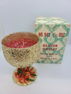 Vintage Christmas Glitter Goblet With Box Penn Wax Works