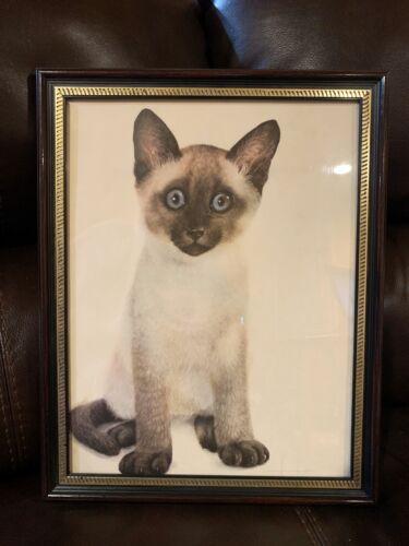 Beautiful Vintage Wood-Framed Siamese Cat Blue Eyed MCM Kitten Signed Print