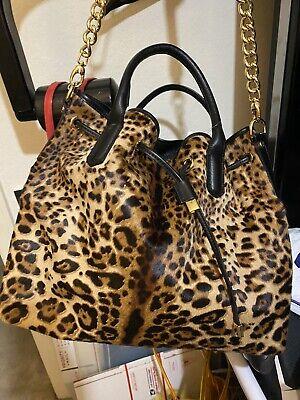 CAVALCANTI HOBO Shoulder Bag Calf Hair Animal Print BROWN Leather & BOOTS!  Leather Print Hobo Bag