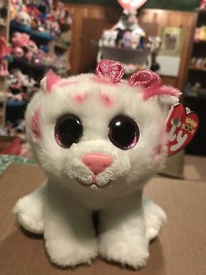 Ty Purrcilla  Pink White Striped Valentines Tiger Beanie Boo   New Exclusive