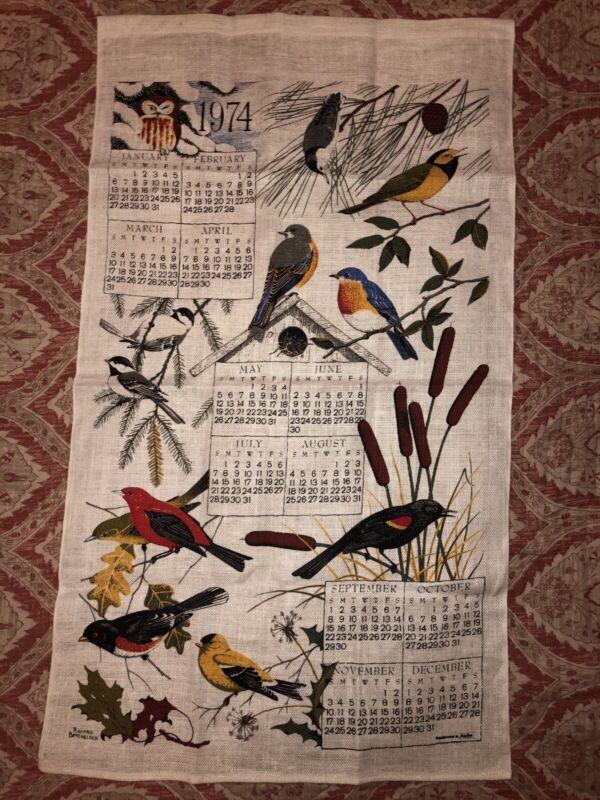 1974 vintage tapestry calendar floral cloth wall hanging sampler birds