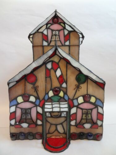 SO SWEET!  LITERALLY SWEET!  HAND CRAFTED STAINED GLASS GINGERBREAD HOUSE W/ LIG
