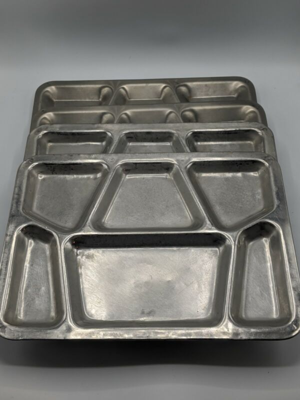 Vintage Set of 4 Metal US Navy Mess 6-Compartment Food Tray Unmarked