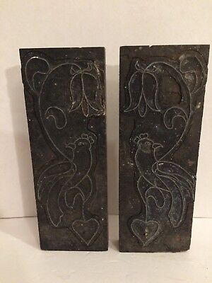 Lot Of 2 Antique Hand Carved Block Fabric Wallpaper Wooden Print Stamp Large