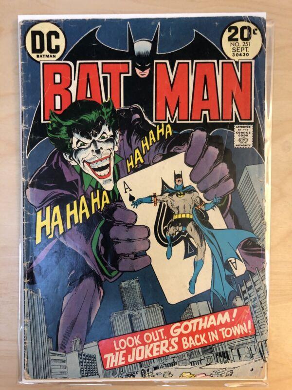 BATMAN #251, 1973 DC, Neal Adams, Joker Classic Cover Key
