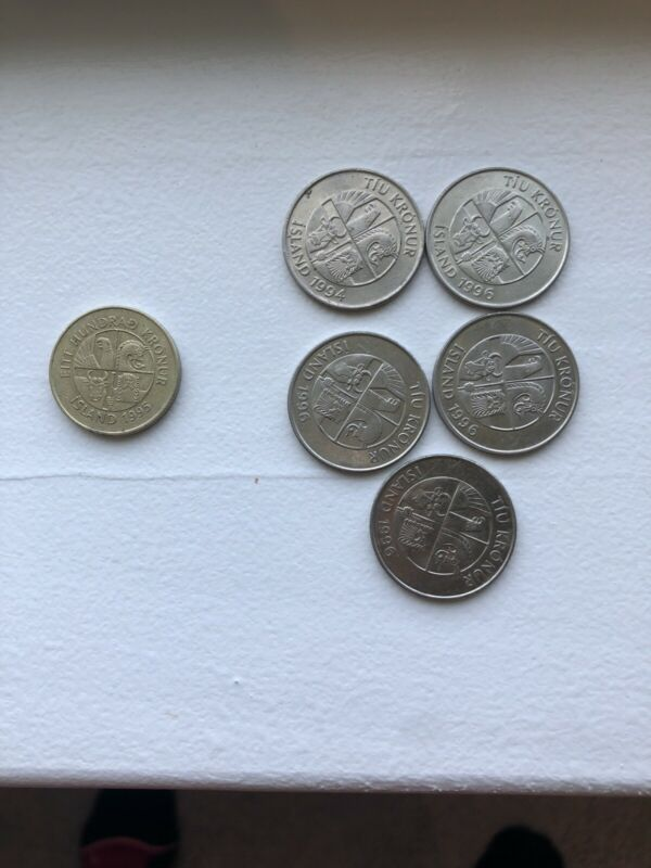 Iceland - Set of 6 Coins 1995 100 KR and 5 10 KR ( 1994 & 1996)