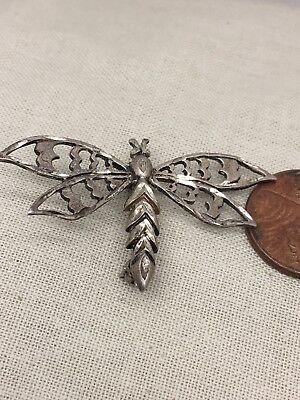 Sterling Silver Dragonfly Pin (Vtg Sterling Silver Dragonfly Brooch Pin 3.1g)