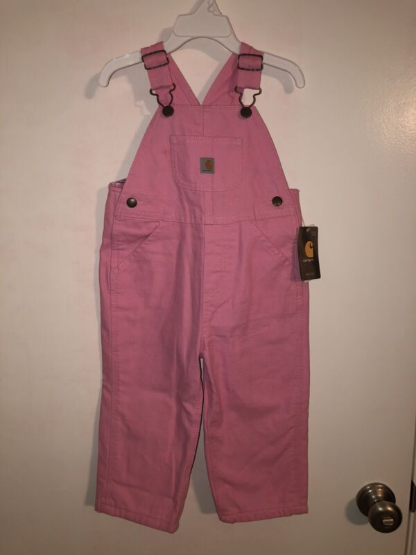 NEW Carhartt CM9629 Girls Size 2T Flannel Lined Rose Pink Canvas Bib Overall