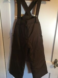 SIZE 6 BROWN OVERALL SNOWPANTS