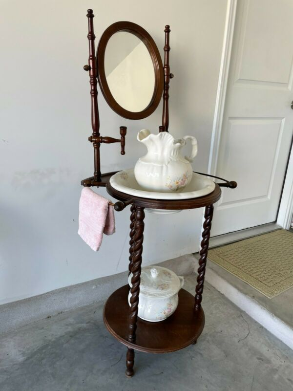 Vintage Wash Basin Stand with Mirror, Candle Holders and Towel Holders