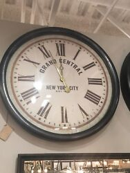 NEW HUGE YORK CITY 30 AGED METAL FRAME ROUND WALL CLOCK AGED VINTAGE IVORY FACE